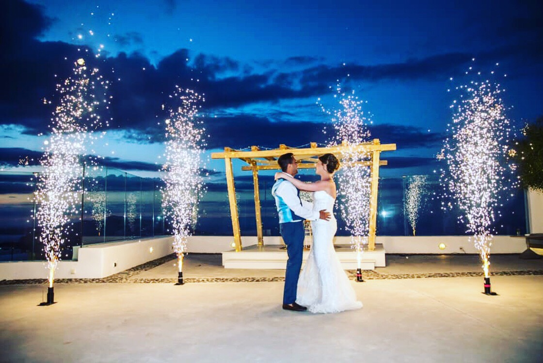 Gazebo with Fairy lights, First Dance, Santorini Brides, Fountain Fireworks at Pyrgos Restaurant, Wedding entertainment packages, Destination wedding Dj in Greece Santorini