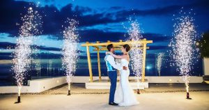 Destination Wedding in Santorini | Hire a Wedding Dj | wedding Fireworks